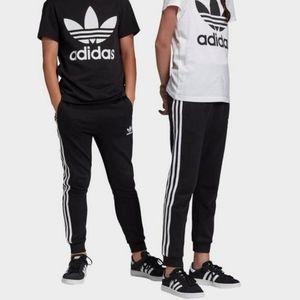Adidas Junior Unisex Black Sriped Joggers